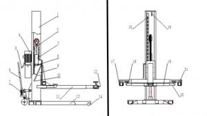 1-Säulen-Hebebühne Teilebezeichnung