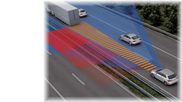 Demonstration von Wirkung der Fahrerassistenzsysteme eines Fahrzeugs auf der Autobahn