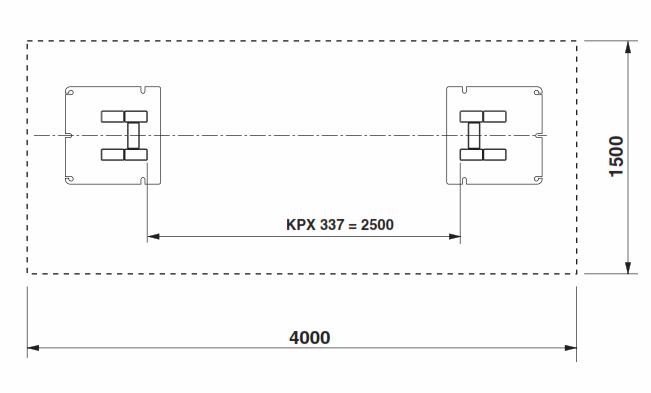 Fundamentsplan 2 Säulen Hebebühne Ravaglioli KPX337WK-X2