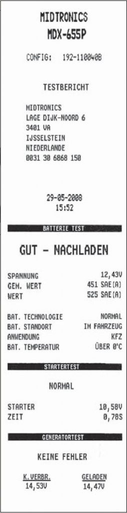 Batterietest Ausruck Midtronics